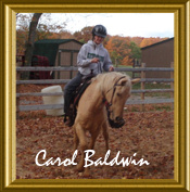 Carol Baldwin on her curly mare Treat. RAC's 2008 International Adult 3rd place winner!